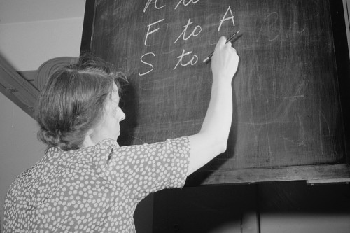 Teacher Writing-on-Chalkboard